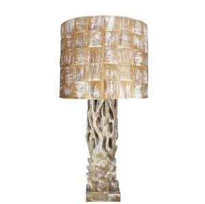 James mont large carved wood lamp in polychrome finish with woven shade unmarked 43 34 x 21 14 base 27 x 8 sq