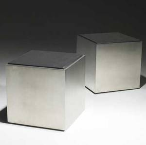 Industrial modern pair of polished heavy plate steel side tables on casters unmarked 18 12 x 18 sq
