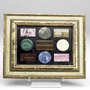 Richard blow montici pietra dura panel of geometric forms framed montici cipher panel 4 12 x 6