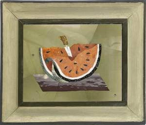 Richard blow montici pietra dura picture of watermelon framed inlaid signature and made in italy 1955 plaque 6 x 7 34