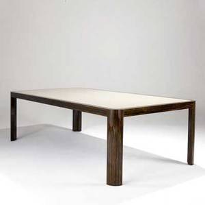 Vladimir kagan large lacquered dining table with inset beige top and exotic wood frame 1977 29 x 96 x 48