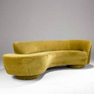 Vladimir kagan cloud sofa with ochre velvet upholstery single plexiglass and two drumshaped supports 1960s 28 x 96 x 30