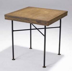Vladimir kagan dreyfuss wood and iron side table branded kagan dreyfuss mark 23 x 22 sq