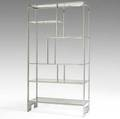 Milo baughman thayer coggin chromed steel geometric etagere with six glass shelves unmarked 79 x 42 x 16