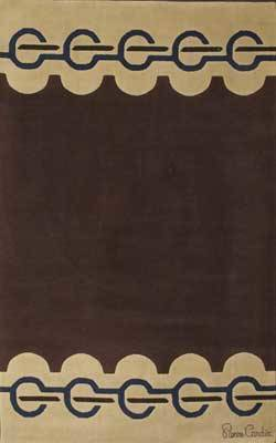 Pierre cardin large wool rug with purple and brown pattern on taupe ground signed lower corner and fabric label to verso 130 x 81