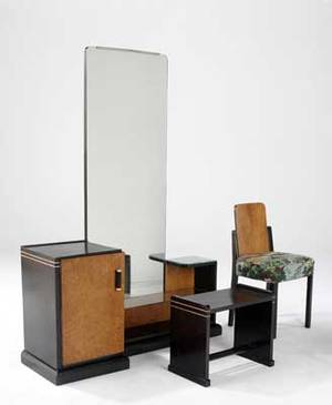 Joaquin tenreiro laubischhirth brazil fine bedroom suite in exotic wood veneers with inlaid details vanity and bench pair of twin beds chair pair of nightstands tabletop mirror and wardrobe
