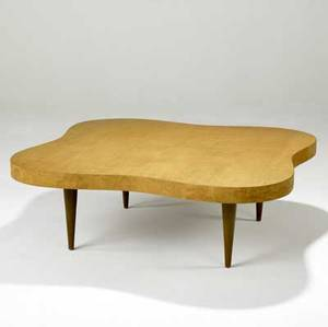 Gilbert rohde herman miller undulating coffee table in paldao veneer no 4188 stenciled 4188 15 x 44 sq