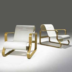 Alvar aalto artek pair of piamio lounge chairs of lacquered wood and birch unmarked 25 12 x 24 x 33