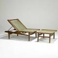 Hans wegner getama adjustable oak lounge chairdaybed and matching ottoman both with original spring covers and blue wool cushions unmarked daybed 34 x 30 x 49