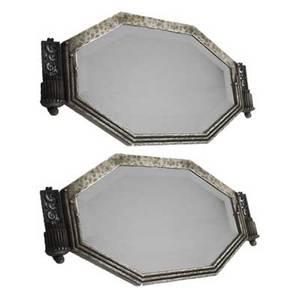 Paul kiss paris 18851962 rare pair of art deco wroughtiron hanging mirrors each stamped paul kiss paris 13 x 26