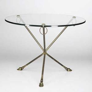 Style of bagues bronze and glass side table with hooved legs numbered 453 17 12 x 23 12