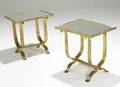 Style of bagues pair of gilded iron side tables with mirrored tops unmarked 18 12 x 18 x 13 34