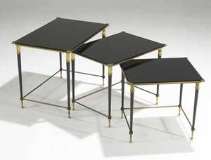 French modern set of three bronze nesting tables with black glass tops unmarked tallest 18 12 x 24 14 x 16 shortest 15 12 x 17 14 x 14 12