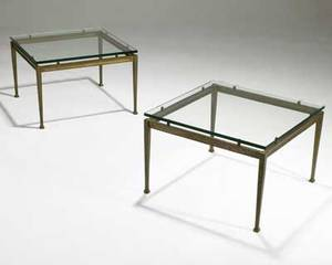 French modern pair of cast bronze side tables with beveled glass tops unmarked 15 12 x 23 12 sq