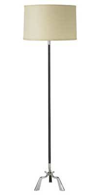 Jacques adnet attr stitched leather floor lamp with linen drum shade c 1950s 62 x 10 12 shade 18 12 dia