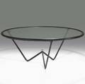 Jacques adnet stitched leather and glass coffee table unmarked 18 x 42 34