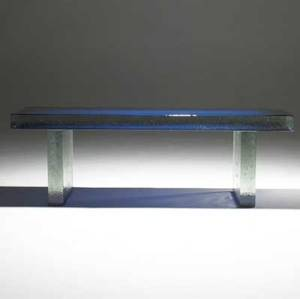 John lewis blue painted bench of cast glass 2007 unmarked 18 x 54 x 14