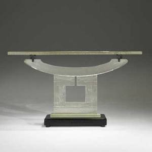 John lewis cast glass clear square console table with enameled metal supports on a black glass base 1997 unmarked 35 x 59 12 x 16