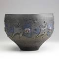 Scheier large vessel with women and fish ultramarine and bronze volcanic glaze signed scheier 84 10 x 14