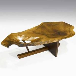 George nakashima minguren coffee table with occlusions and rosewood butterfly key on walnut base 1985 signed with clients name and dated 15 x 50 x 19