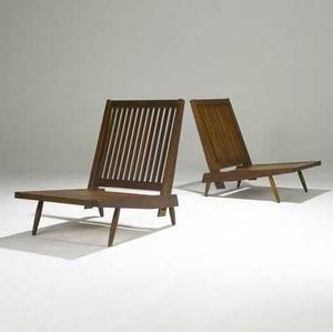 George nakashima pair of walnut cushion chairs unmarked 30 12 x 23 12 x 30 12