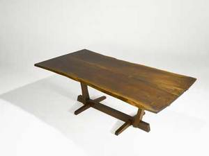 George nakashima walnut conoid dining table with rosewood butterflies and bookmatched top two 15 leaves leaves and table signed with clients name 29 x 46 12 x 83
