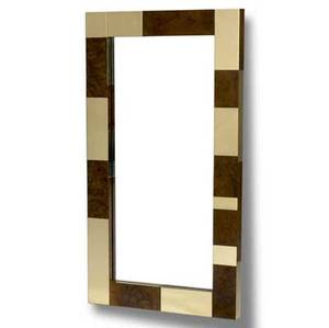 Paul evans cityscape wallhung mirror in burlwood and polished brass patchwork signed an original paul evans 36 x 20