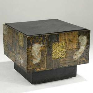 Paul evans cube table of copper bronze and pewter patchwork slate top and hidden casters unmarked 23 x 30 sq