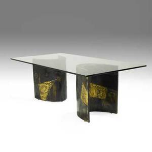 Paul evans dining table with plate glass top over two crescentshaped patinated and welded steel bases unmarked 30 x 84 x 44