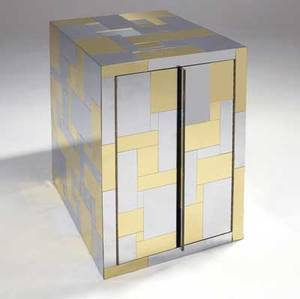 Paul evans cityscape twodoor cabinet in polished brass and chrome with single adjustable shelf 30 14 x 24 x 18 14
