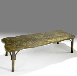 Philip  kelvin laverne freeform bronze coffee table on buttressed legs acidetched floral motif relief signature philip kelvin laverne 17 x 54 x 23