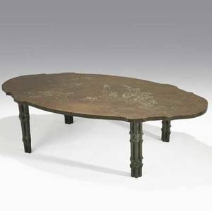 Philip  kelvin laverne bronze coffee table etched with angels and clouds signed philip kelvin  laverne 16 34 x 60 12 x 31 14