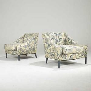 James mont pair of club chairs upholstered in linen chintz on blue enameled legs unmarked 31 x 35 12 x 34