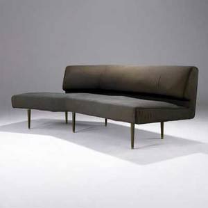 Edward wormley dunbar early curved sofa on solid brass legs original silk upholstery green dunbar metal tag 30 x 88 x 44