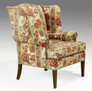 Edward wormley dunbar wing chair cotton chintz upholstery mahogany legs fabric upholstery label made by dunbar berne indiana 31 x 32 x 33