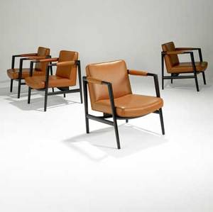 Edward wormley dunbar set of four sculpted mahogany lounge chairs upholstered in vinyl rectangular brass tag 28 x 24 x 26 12