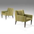 Edward wormley dunbar pair of upholstered mahogany lounge chairs c 1960s brass d tag 32 x 28 x 38 12