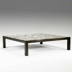 Edward wormley dunbar large coffee table with tile mosaic top on mahogany base green metal rectangular dunbar tag 13 x 48 sq