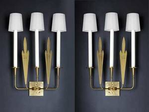 Tommi parzinger pair of electrified brass and enameled steel wall sconces silk shades unmarked 25 x 17 12 x 4 34