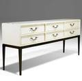 Tommi parzinger lacquered oak credenza on mahogany legs three silverware drawers original milkglass panels stamped parzinger originals 32 x 72 x 16 12