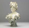 Riessner stellmacher  kessel amphora porcelain bust of a lady with poppies see cond rept red r st k amphora 1196 16 x 10 12