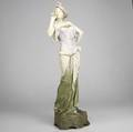 Art nouveau tall amphora porcelain figurine of a lady see cond rept red circular stamp with crown made in austria 4609 25 x 8