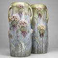 Riessner stellmacher  kessel pair of tall amphora ceramic vases with thistle ca 1902 see cond rept stamped amphora austria crown imperial am  20 x 8 14
