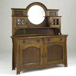 Scottish arts  crafts sideboard with mirror and cabinets unmarked 71 12 x 60 x 20 12