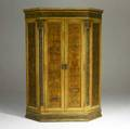 Marie zimmermann large wooden cupboard painted by marie zimmermann with four shelves in red interior partial paper label provenance zimmerman pennsylvania and florida estates 82 12 x 60 x 18 1