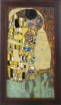 Stained glass window in the style of gustav klimt the kiss framed 59 12 x 36
