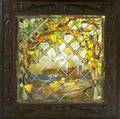 Stained glass window with grape arbor in the style of tiffany framed provenance california vineyard 42 12 x 41 12