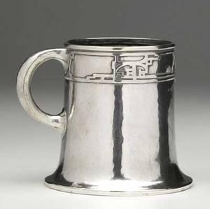 Jarvie hammered sterling silver presentation mug presented to robert jarvie riddle by robert riddle jarvie december third 1911 minor nicks to edges stamped jarvie sterling 3 12 x 4 12