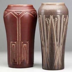 Rookwood two tall vases mauve production 1924 and red incised mat 1906 each stamped 11 14 11