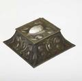 Elizabeth burton rare embossed copper and shell hinged inkwell stamped eb 3 12 x 7 sq